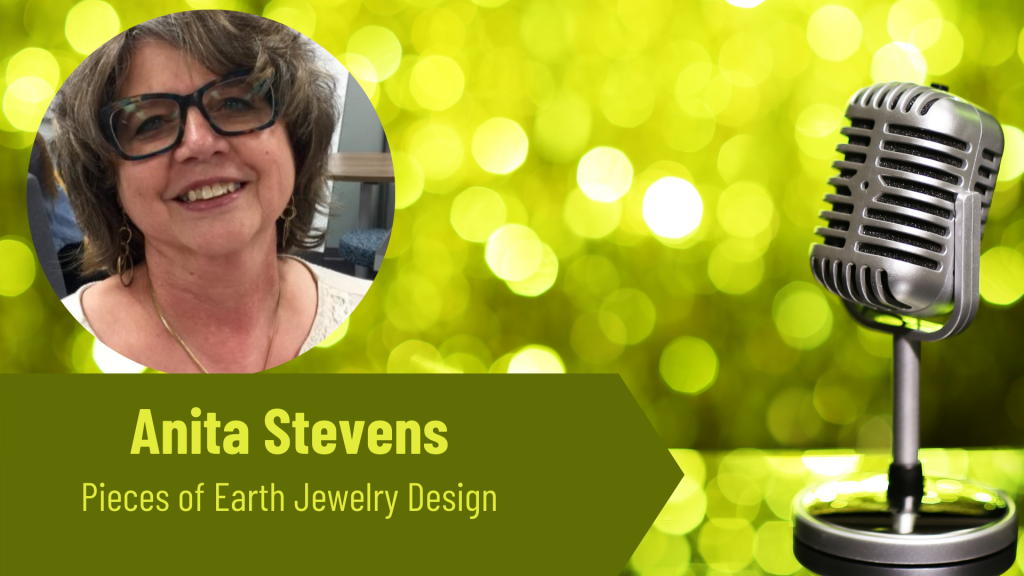 Anita Stevens pieces of earth jewelry design on the Thriving Solopreneur Podcast with Janine Bolon
